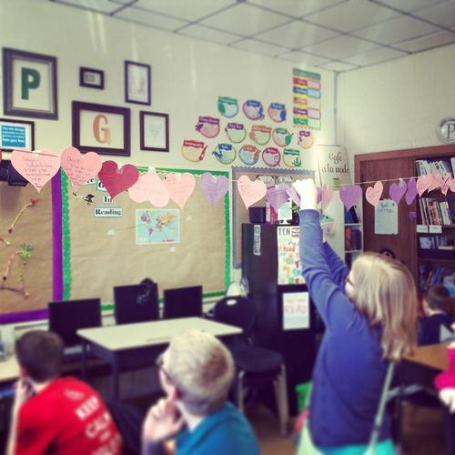 Paper hearts classroom